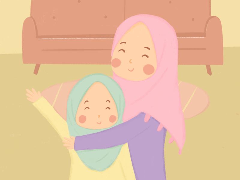 Hug artworks sister hug muslim childrenillustration childrenbook illustrator illustration