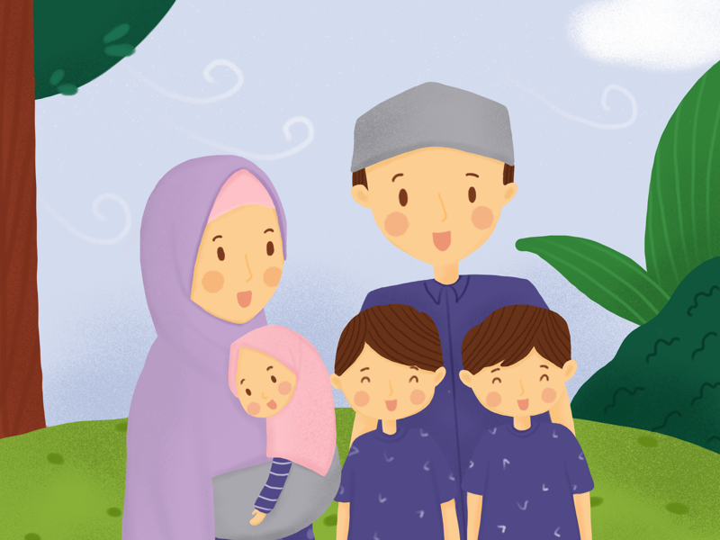 Happy Family procreate digitalpainting artworks cute family childrenbook childrenillustration illustrator illustration