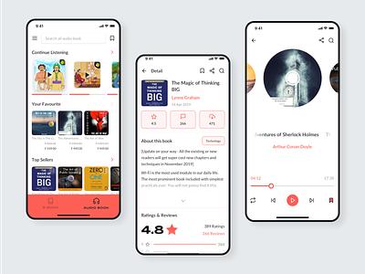 Audiobook App UI Kit rating cd disk iphonex read reading app audiobook list minimal design ux ui app sketch ui kit player audio