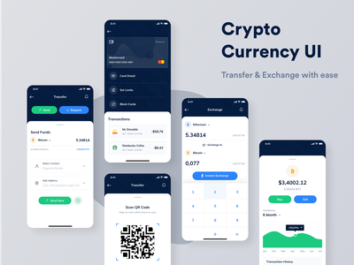 Crypto Currency UI crypto exchange crypto trading money transfer cryptocurrency crypto iphonex mobile list clean minimal app ux ui sketch bitcoins bitcoin green blue dashboard app dashboard