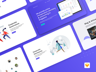 Landing Page Design graphs landing page sketchapp freeuikit agency service design ux clean ui sketch minimal accounting articles blog illustraion corporate purple website