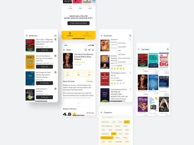 Audio and Ebook UI Kit ebook detail page bookmarks category audiobook free design mobile list ux ui clean sketch minimal app
