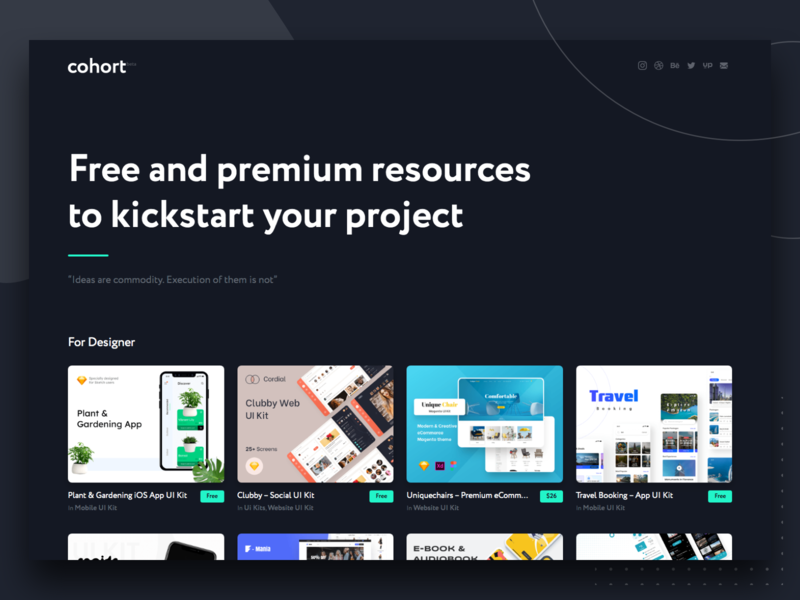 Launching Cohort.Work minimal landing page ecommerce website app mobile design ux ui free sketch free ui kit xd ui kit xd figma sketchapp sketch free