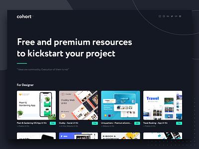 Launching Cohort.Work minimal landing page ecommerce website app mobile design ux ui free sketch free ui kit xd ui kit xd figma sketchapp sketch free