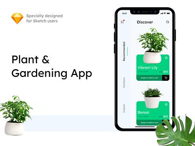 Plant & Gardening App search price cart discover plant clean mobile sketch ux sketchapp minimal free ui kit free sketch free app design