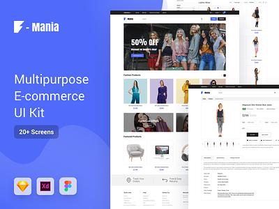 F Mania Multipurpose E-Commerce UI Kit website web ux figma ecommerce clean free sketchapp sketch minimal free ui kit free sketch