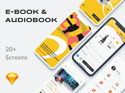 eBook and Audiobook App ux ui bold minimal iphonex ios mobile yellow clean ui kit free sketch audio book
