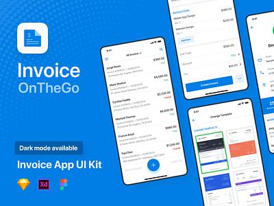 Invoice App Design cards detail profile template dashboard list price xd figma sketch ready development clean design uiux ui app dark mode invoice
