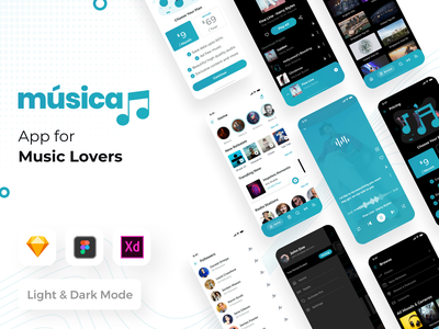 Music App UI Kit for iOS xd sketch figma free sketch share library albums radio listen song shuffle repeat pause previous next play ui app music