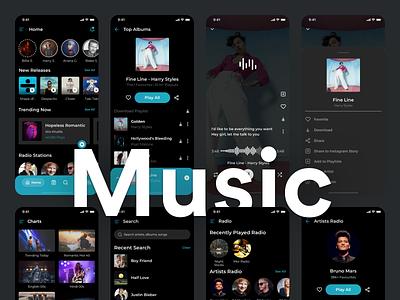 Music App UI - Dark mode figma sketch dark theme dark mode dark ui share library albums radio listen song shuffle repeat pause previous next play ui app music