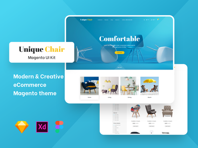 Unique Chairs Store Magento Based UI ux minimal clean app ui sketch theme magento theme magento category list buy shop chairs ecommerce
