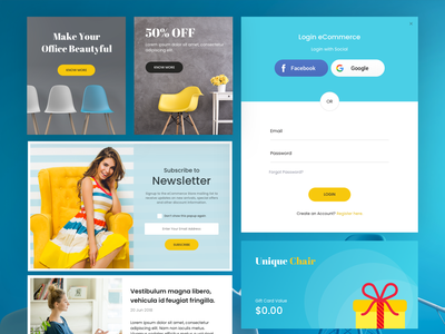Ecommerce Cards shop minimal theme magento list ecommerce clean chairs category buy app