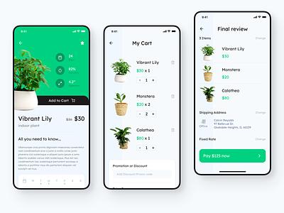 Checkout Flow - Gardening UI details list search buy ecommerce cart modern minimal ui garden plant app