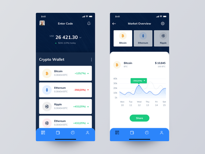 Crypto Wallet App UI currency cryptocurrency list tab home eth ripple bitcoin crypto ios app