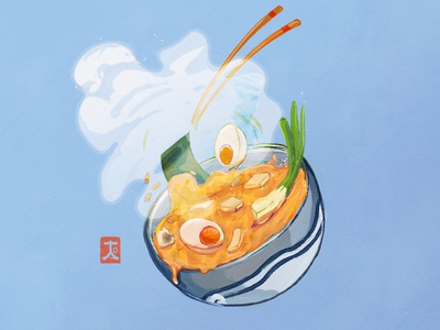 Miso Soup digital art illustration ramen eggs tofu foodillustration photoshop digital illustration digital illustrations digital painting digitalart illuastration soup miso