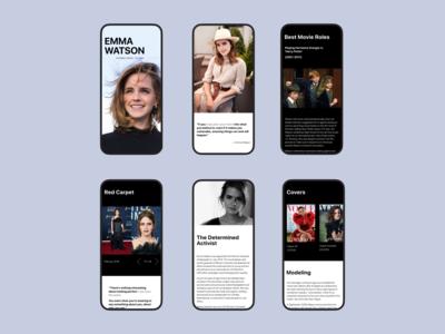 Emma Watson | Mobile mobile design mobile ui landing ux ui emma watson