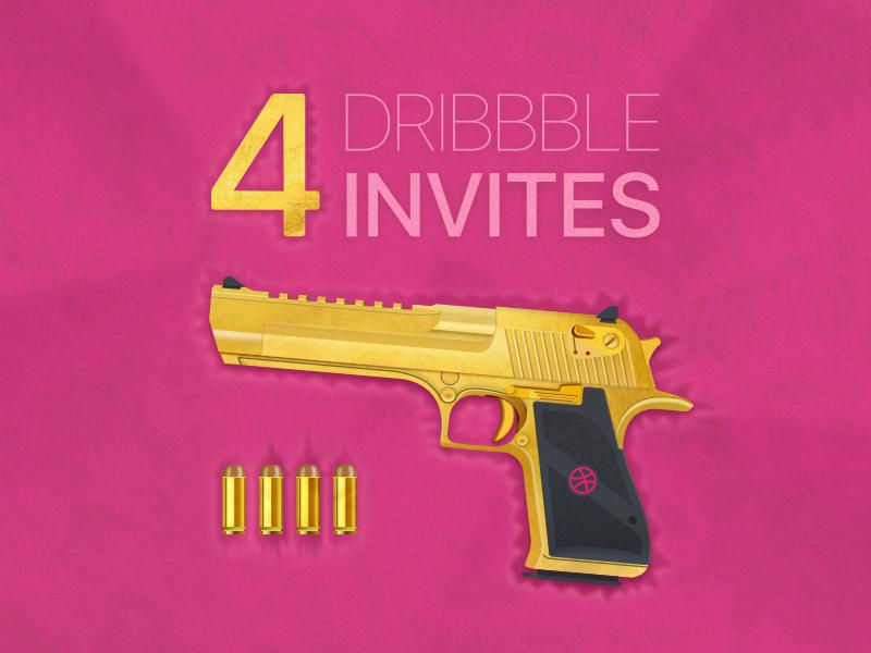 4 Invites colt gold bullet velvet deserteagle deagle gun vector techdesign dribbble invites invite