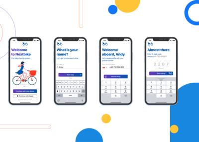 Bike sharing app on boarding screens and log in