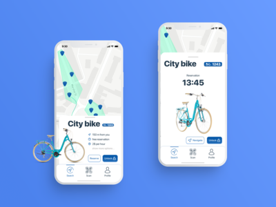 Bike rent app - reservation screen