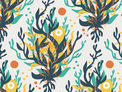 Octopus's Garden repeating pattern surface pattern wallpaper cryptozoology repeating patterns seaweed garden octopus