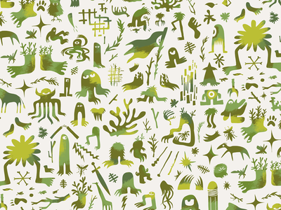 Mental Graffiti | Color repeating pattern surface pattern mental graffiti creatures monsters wallpaper cryptozoology repeating patterns