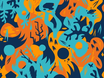 Orangeblueshapes surface design surface pattern surface pattern claws nature ornate wallpaper cryptozoology patterns