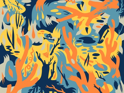 More Orange Sticks surface design surface pattern surface pattern claws nature ornate wallpaper cryptozoology patterns