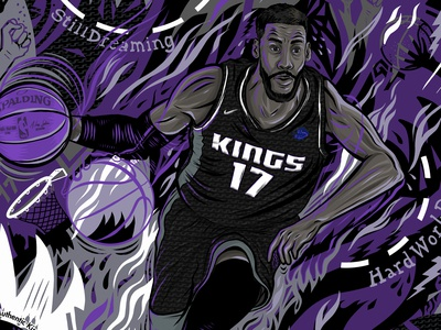 Garrett Temple Cheer Card hoops kings sacramento kings garrett temple nba basketball design illustration