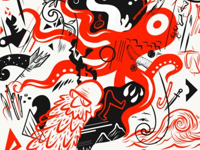 Detail of a pattern full of curiosities 2 design vector wallpaper creatures cryptozoology repeating pattern monsters patterns illustration surface pattern pattern
