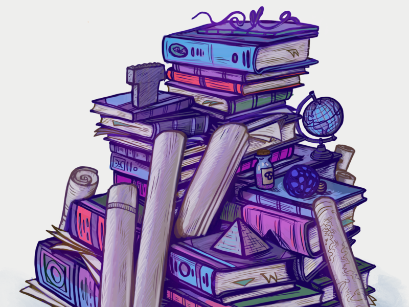 Some of the Book Sellers Wares oddities cabinet of curiosities books procreate sketching design illustration