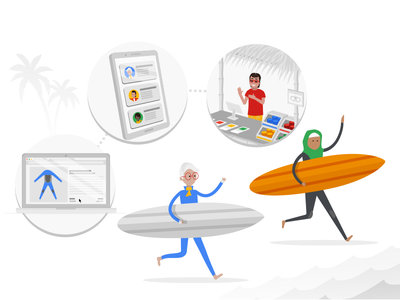 Google Happy Surfers character design e-learning clients audience tech design illustration google
