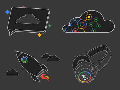 Google Dark Mode Icons e-learning line art google dark mode icons illustration
