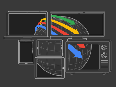 Google Dark Mode Video Reach tech video google e-learning illustration