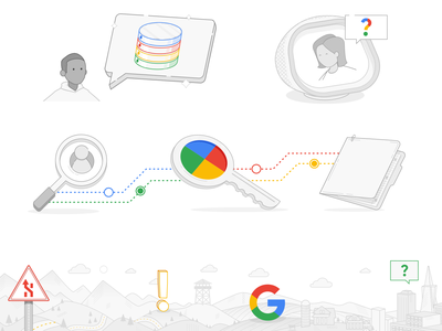 Google Line Art Illos e-learning iconography google tech landscape icons illustration