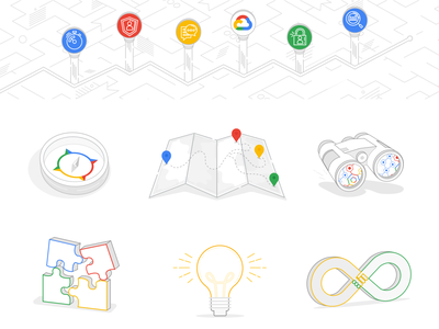 Google Line Art Illos and Icons graphic design icons design illustrations line art tech iconography icons e-learning google