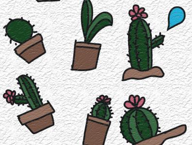 Cactus illustration simple cacti cactua cactua indonesia illustration cartoon vector minimalist 3d animation ilustration