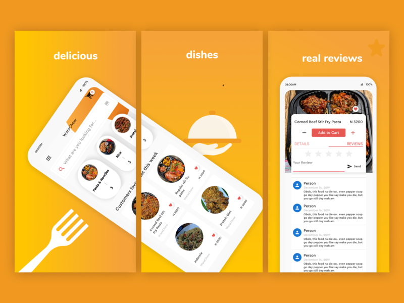 Playstore mockup for a food store. android playstore