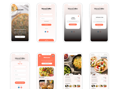 Food App UI (UX research, Wire-framing, UI design) warachow ux ui food