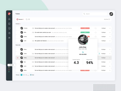 Customer Support Dashboard - Tickets page