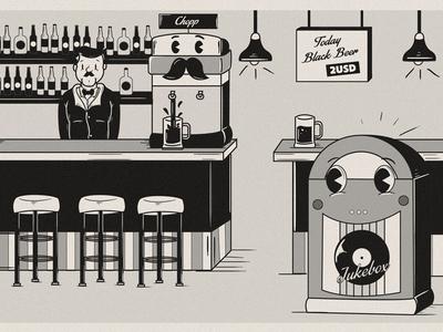 Cartoon Bar toons city theme park cartoon retro vintage animation jukebox chopp old beer illustration