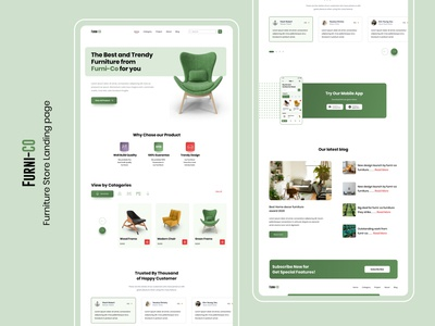 Furni-Co II e-commerce landing Page furniture website web design product page website landingpage uxdesign trending ecommerce furniture website design webdesign branding ux ui  ux ui ui design