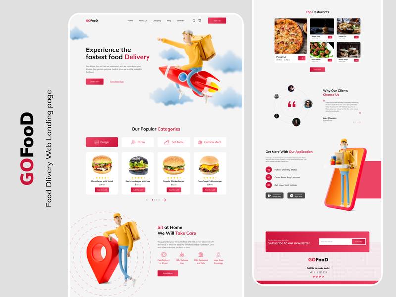 Gofood II Food delivery Website website template web element resturant delivery websites website concept webdesign website design food and drink delivery service food branding ux web design website uxdesign ui  ux ui ui design