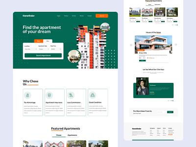 HomeFinder Web Exploration realestate real estate design landing page design house rental ui  ux website design website web design uxdesign ux ui ui design