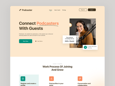 Podcaster - podcast website typography website ux ui webdesign ui  ux website design ui design web design