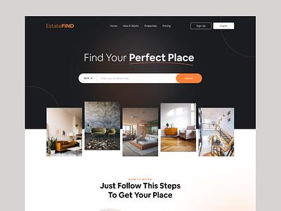 Real Estate Website place property sold rent building realestate typography webdesign website design website web design uxdesign ux ui  ux ui ui design