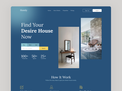 Homly Real Estate Website typography interior color property booking home house real estate webdesign website design website web design uxdesign ux ui  ux ui ui design