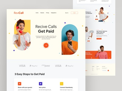 Revcall website design producthunt phone paid payment finance call color typography webdesign website design website web design uxdesign ux ui  ux ui ui design