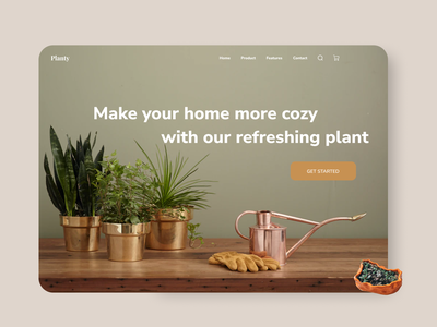Planty Landing Page ecommerce app plant store store shopping cart shopping shopify shop web design webdesign website leaf planter plant ecommerce design ecommerce shop ecommerce web clean ui soft