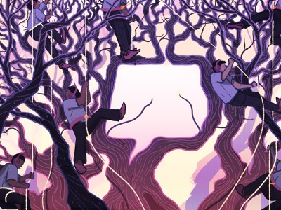 Branching Out from Twitch nature tree editorial illustration design illustration