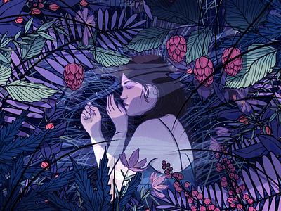 Unmasking Sleep dream sleep woman nature editorial illustration illustration
